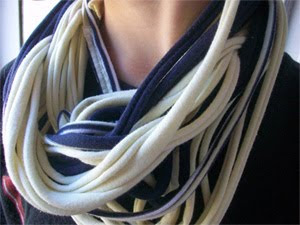 DIY T-shirt Scarves - roundup of tutorials and instructions showing you how to make a scarf out of a T-shirt. Recycle old T-shirts into cute scarves.