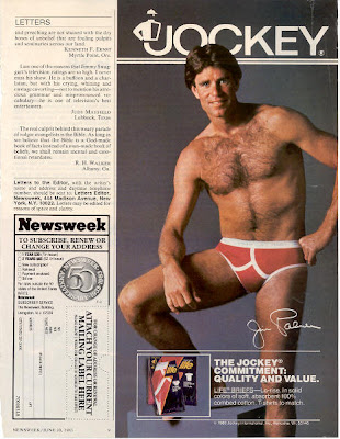 Jim Palmer Jockey Y-front colored underwear ad in Newsweek, Jun. 20, 1983, p. 9
