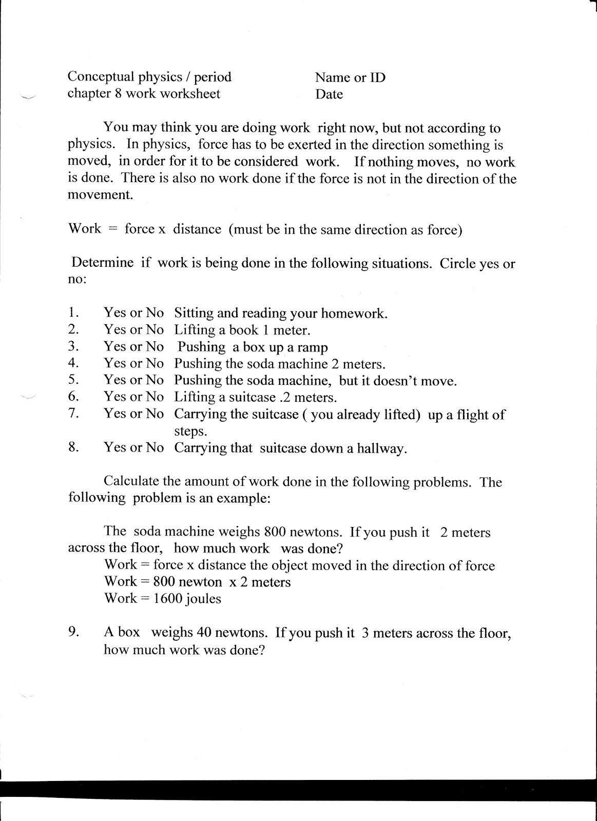Physics Due Wed Nov 17 Simple Work Worksheet
