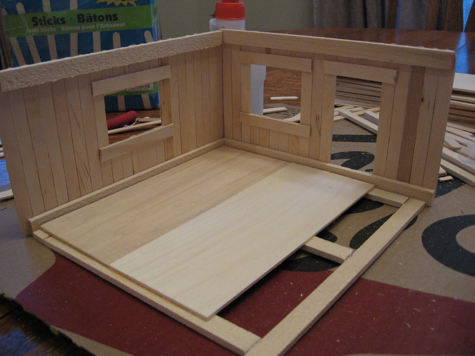 Almost unschoolers basswood and popsicle stick doll house for How to make a house step by step