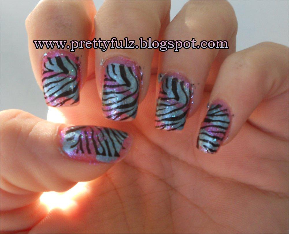 Prettyfulz: KONAD Nail Art | Cotton Candy Zebra Nail Art