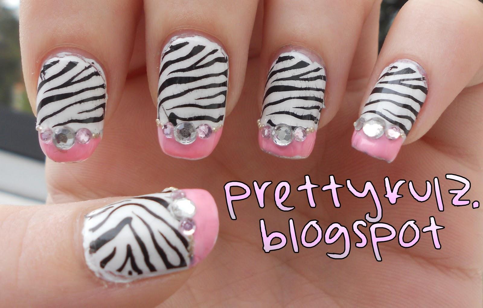 Prettyfulz Konad Nail Art Pink Zebra Nail Design