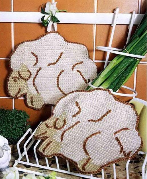 Agarraderas tejidas en crochet for Agarraderas para bano