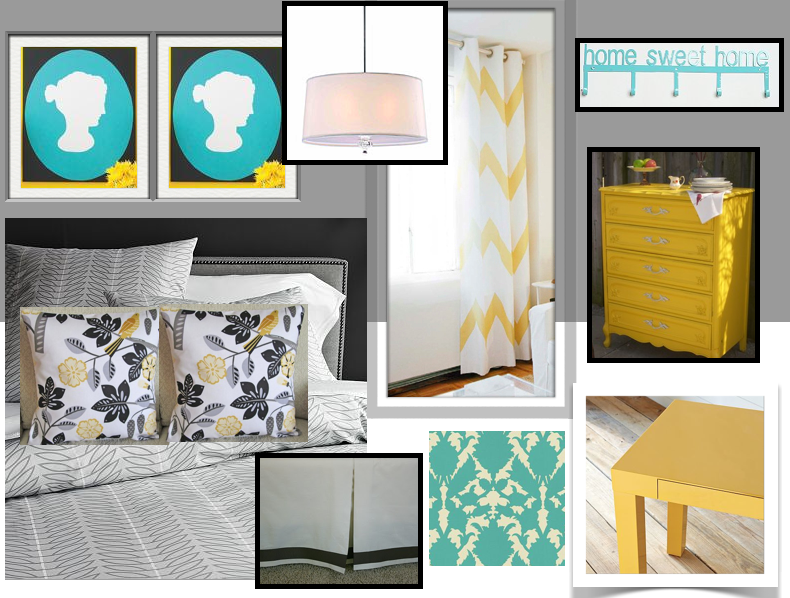 Blue Yellow And Gray Bedroom Design Teal Grey