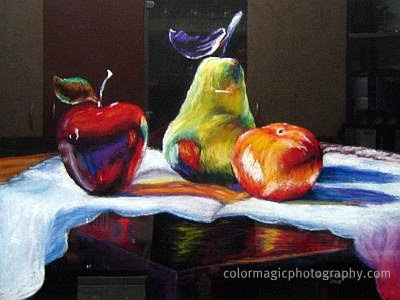 Reflection in the glass of a still life painting