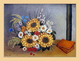 still life with colorful flowers in a vase-oil painting