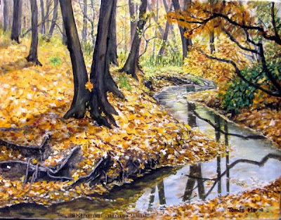 autumn forest scene near a river