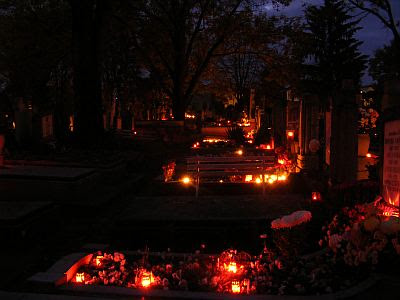 Graveyard with candle lights
