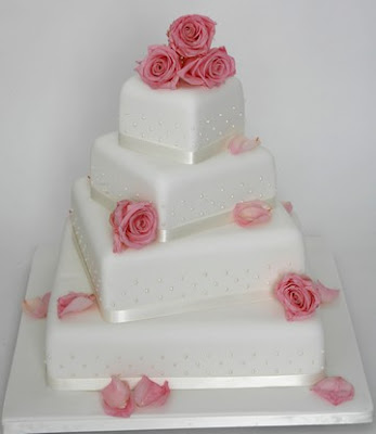 Wedding Cake square white Twisted Pink Roses with Pearl Beading