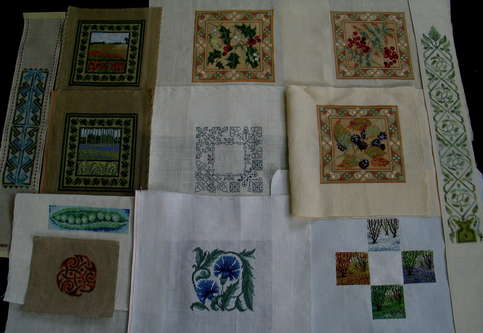The blue/green needlepoint at top centre is my own design. The free  embroidery in the middle is from a kit by Stef Francis, whose website is  well worth a ...