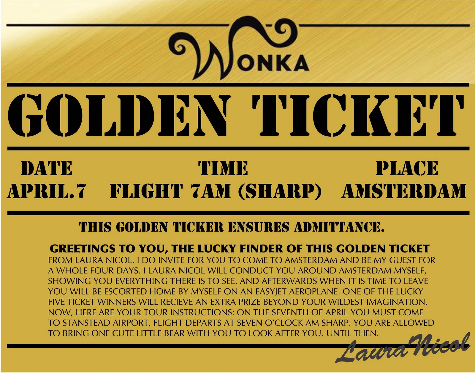 Charlie and the chocolate factory golden ticket printable for Golden ticket template editable