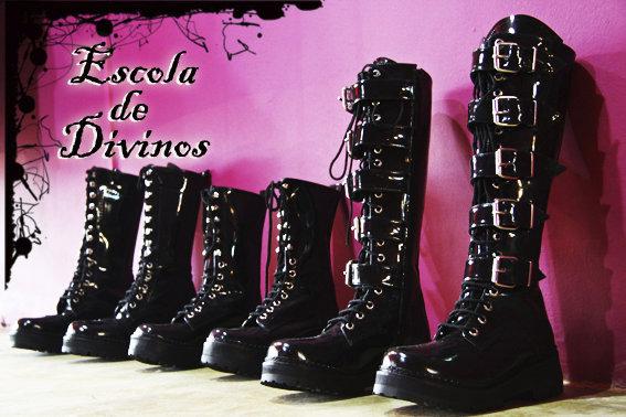 botas de vinil - botas de verniz