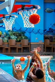 Playing basketball in the pool