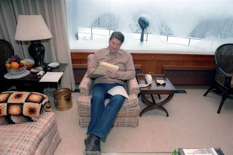 President Reagan Writing The State Of The Union Address At Camp David   1985