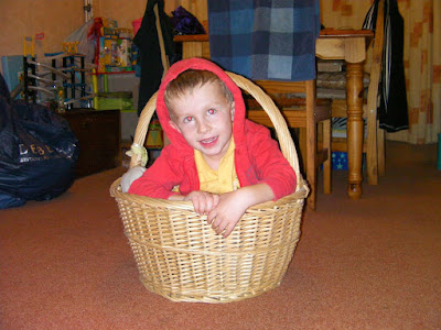 little red riding hood, boy in a giant wicker basket
