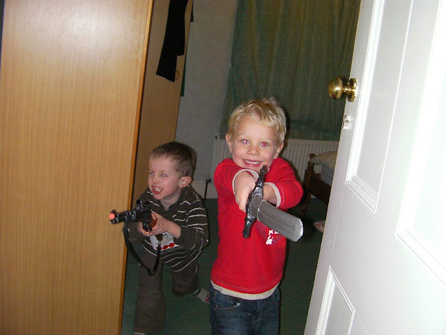 kids defending bedroom den against adult intruder