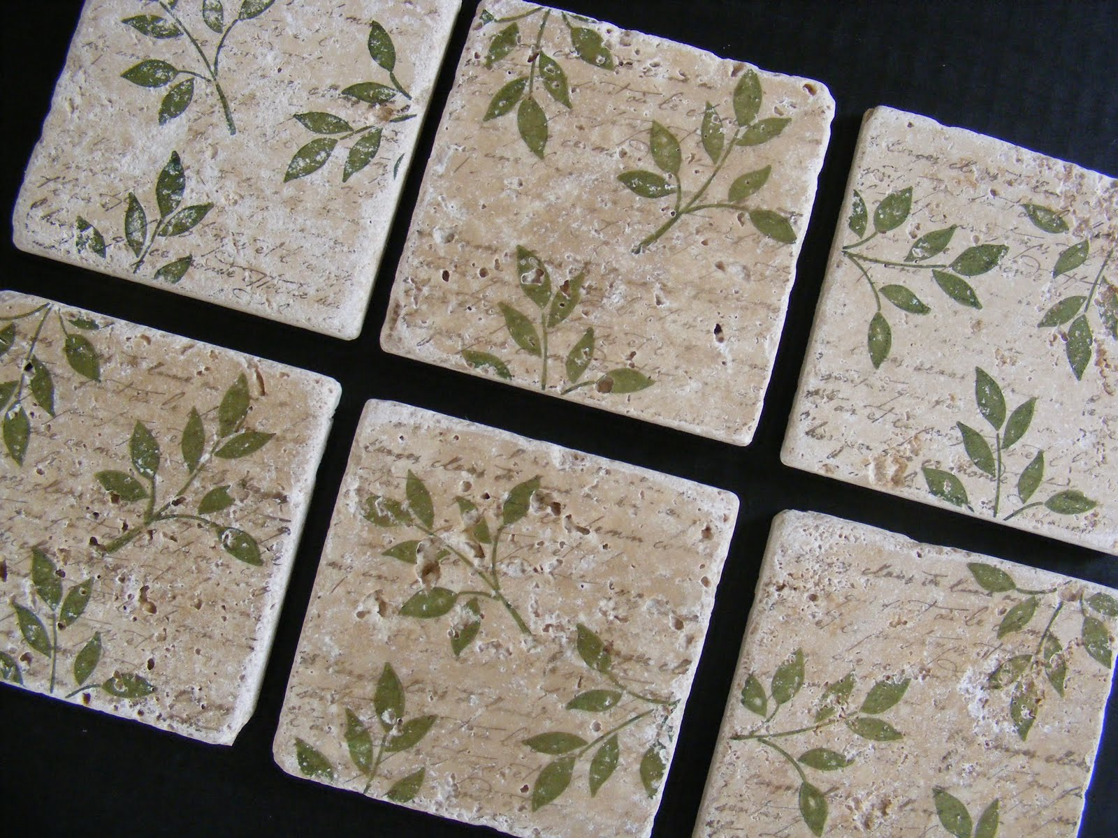 Wine Coasters Olive Sage Green