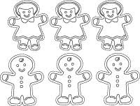 Printable Coloring Book Pages: Gingerbread People to Color