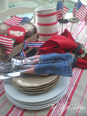 4th of July Tablescape, 4th of July Buffet, red white and blue tablescape, Memorial Day Table decor, 4th of July table decor,  Red white and Blue