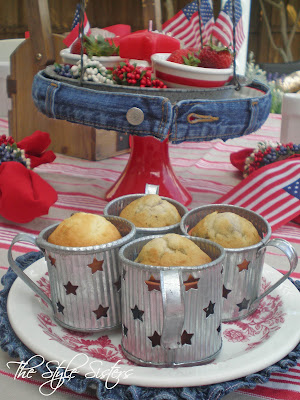 Denim Trimmed Cake plate, 4th of July Table decorations, 4th of July Tablescape red white and blue tablescape, Memorial Day Table decor, 4th of July table decor,  Red white and Blue