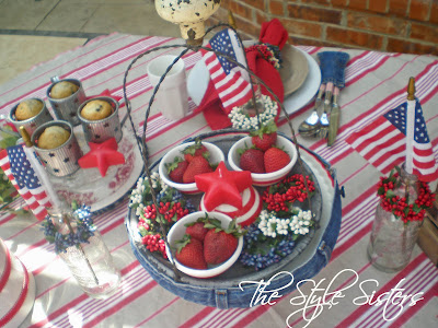 Red white and blue tablescape- The Style Sisters, 4th of July Table Decorations