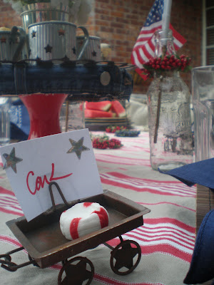 Red white and blue tablescape, 4th of July table decor