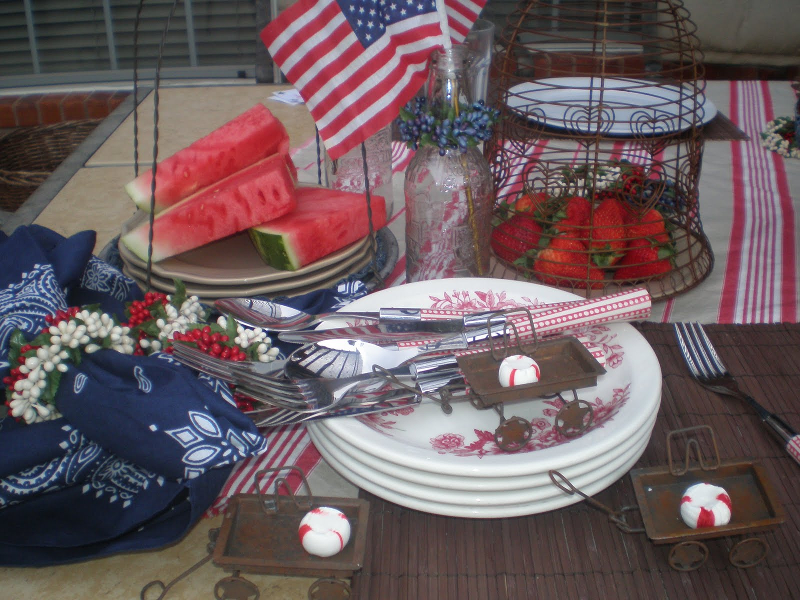 Red White And Blue Tablescape Rusty Cloche And Bandanas