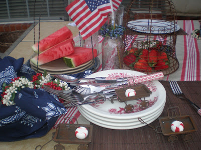 Rustic, red white and blue tablescape, Memorial Day Table decor, 4th of July table decor,  Red white and Blue