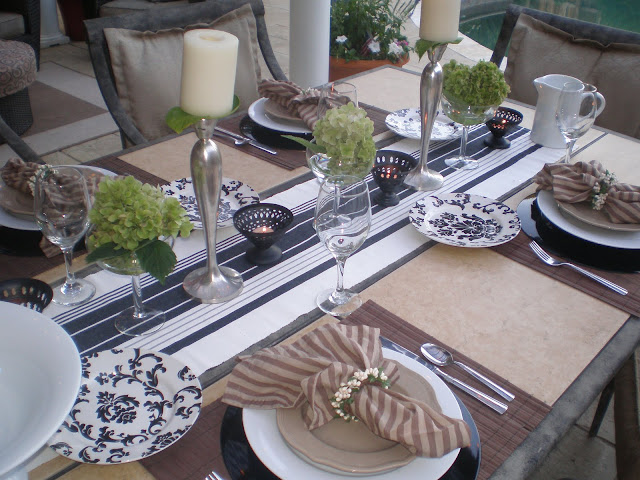 Dining by the pool soothing tablescape- The style sisters