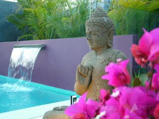 gradina cu fantana in piscina, culori, stil exotic