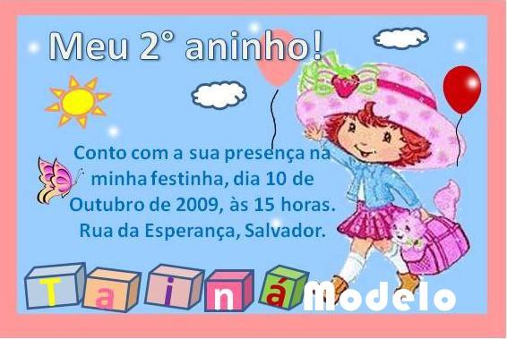 Convite De Aniversario Infantil Para Imprimir Moranguinho 1 2 3 E 4