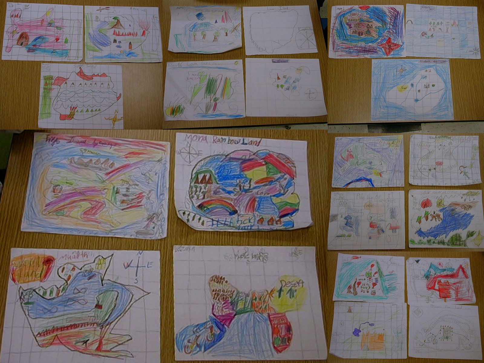 Art   Painting at WBR school  Learning about maps by creating our     The 1st grade looked at the antique maps and then drew thier own map of an  imaginary island  Land forms were not a problem as several included  mountains and