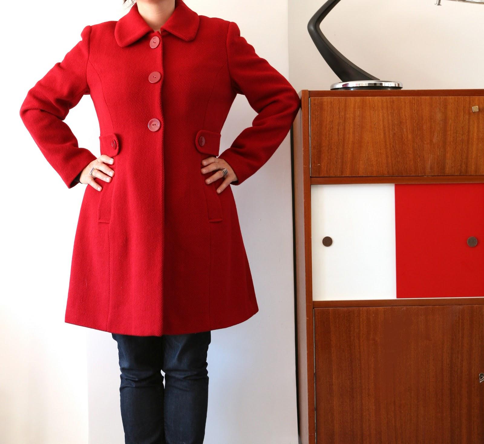 baos manteau 3 4 rouge femme taille 40 42. Black Bedroom Furniture Sets. Home Design Ideas