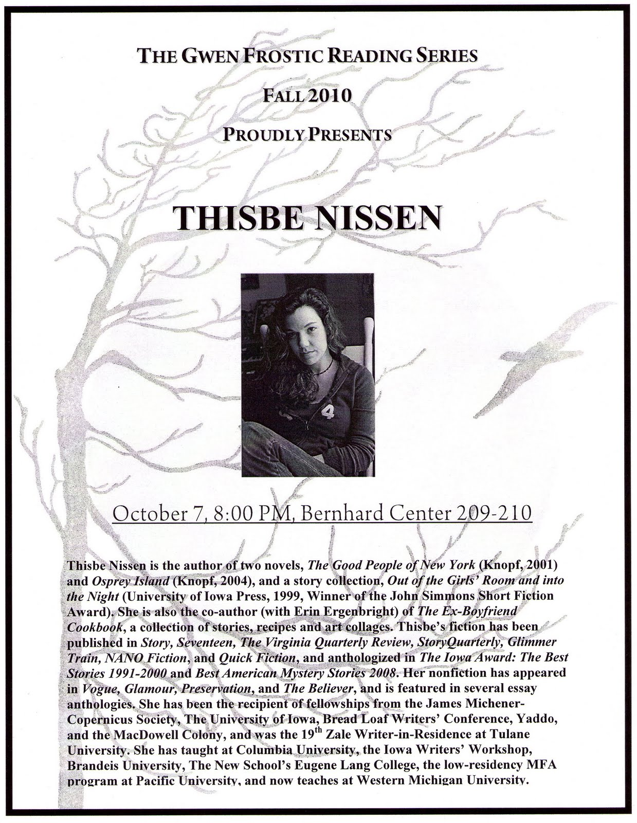 GLEANINGS: Thisbe Nissen Reads Her Work: Fall 2010 Gwen