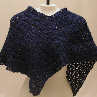 Poncho style capelet, crochet in blue...super soft too!