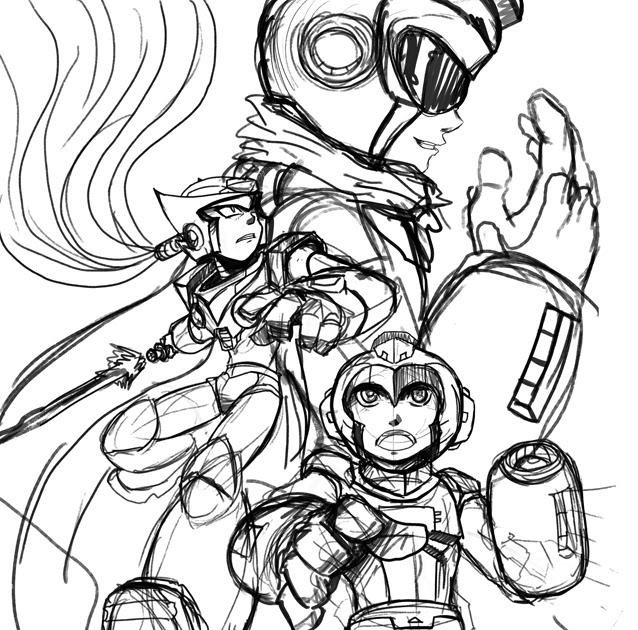 RACKET-PUNCH!: Megaman Tribute Roughs