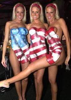 flag american Naked with women