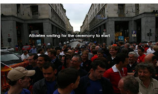 Athletes waiting to for the opening ceremony