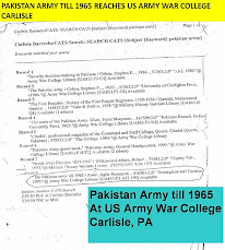 THE PAKISTAN ARMY TILL 1965 IN US ARMY WAR COLLEGE CARLISLE LIBRARY