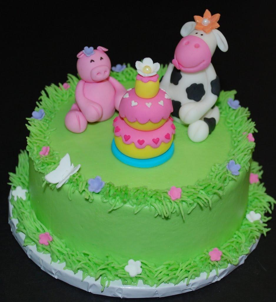 The Bakery Next Door: Girly Farm Birthday Cake