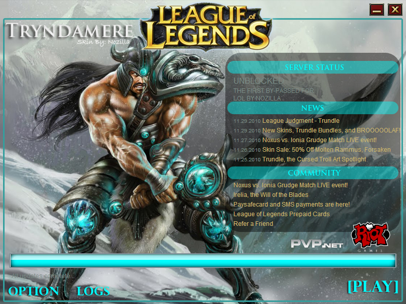 League Of Legends Asia: Tryndamere Game Launcher Skin