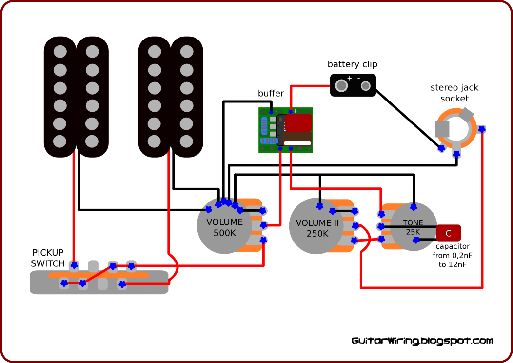 The Guitar Wiring Blog  diagrams and tips: Active Guitar Wiring  With a TL071 Based Buffer