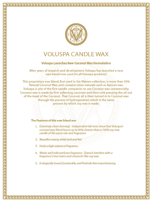 New Coconut Wax for Voluspa Candles