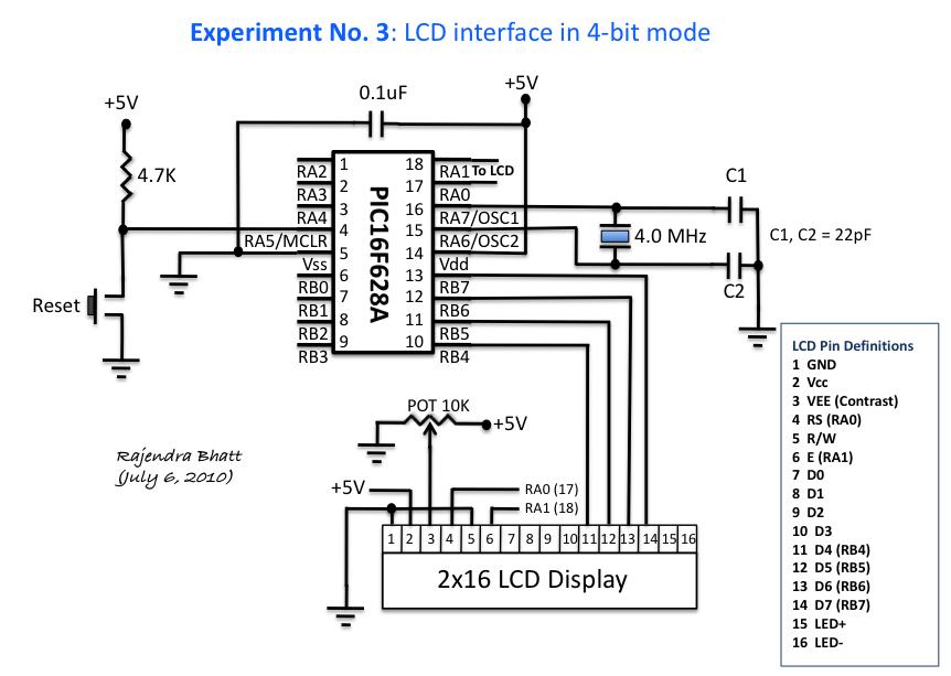 lcd module in 4bit mode circuit diagram