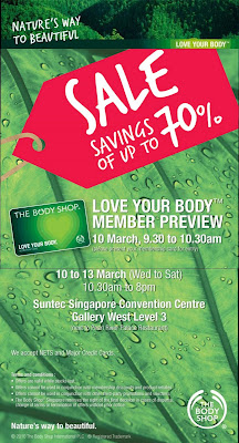 2c456b27e2b The Body Shop is having a warehouse sale with discounts of up to 70%  starting on 10/Mar - 13/Mar. OM! Happening @ Suntec Convention... is @ my  workplace, ...