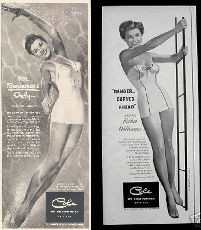 2e502891ab9 Esther Williams became the spokes model for Cole in the late 1940s. You can  read more about that effort on our blog here. Overall, I believe these were  ...