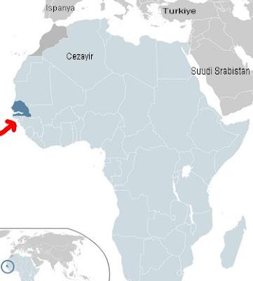 senegal neresi. senegal harita. senegal afrika haritası