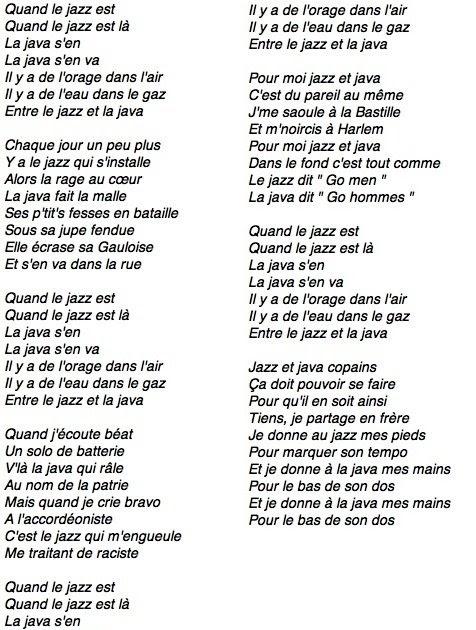 Paroles Le Jazz Et La Java : paroles, Aime/Jack, N'aime, Encore, Claude, Nougaro