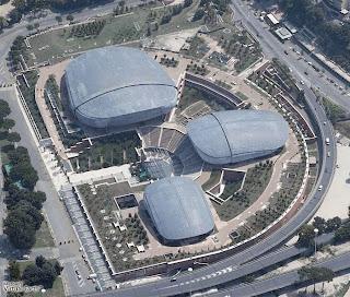 """Foto aérea do """"Parco della Música"""" de Renzo Piano em Roma"""