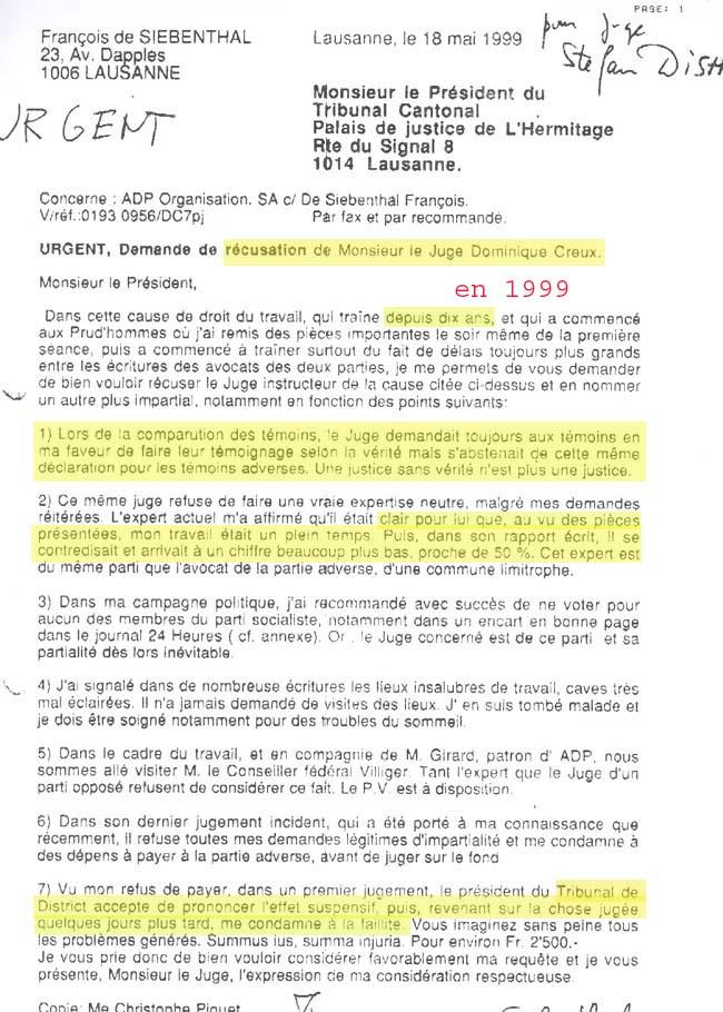 François De Siebenthal L Importance De La Justice